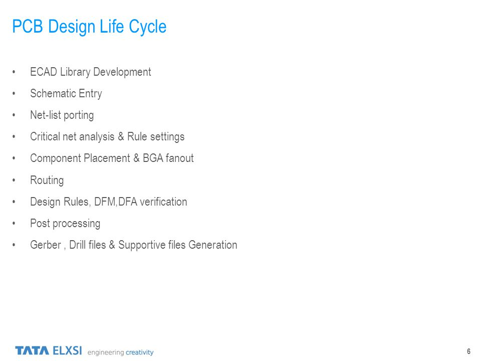 6 PCB Design Life Cycle ECAD Library Development Schematic Entry Net-list porting Critical net analysis & Rule settings Component Placement & BGA fano