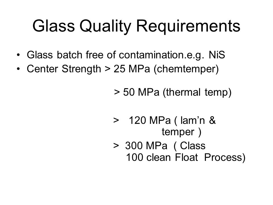 Glass Quality Requirements Glass batch free of contamination.e.g.