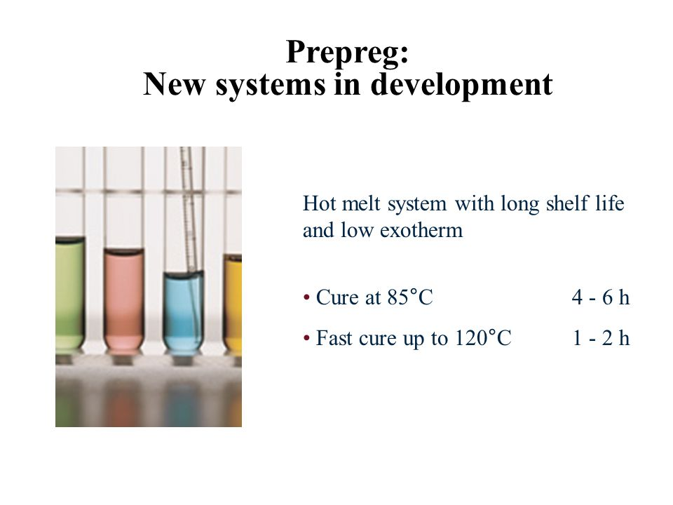 Prepreg: New systems in development Hot melt system with long shelf life and low exotherm Cure at 85°C 4 - 6 h Fast cure up to 120°C1 - 2 h