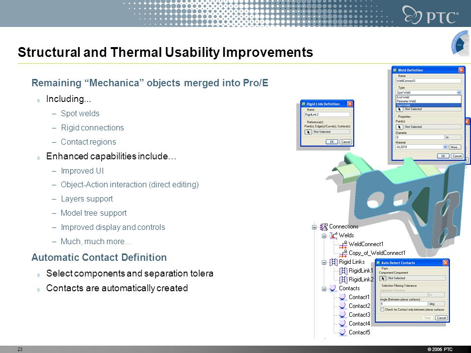 © 2006 PTC23 Structural and Thermal Usability Improvements Remaining Mechanica objects merged into Pro/E Including...