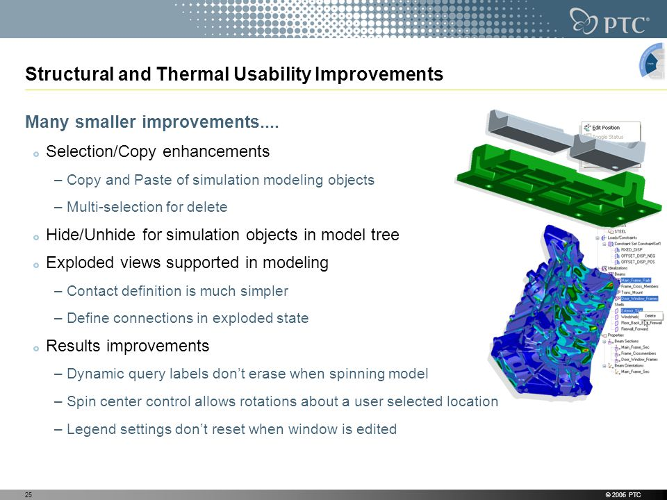 © 2006 PTC25 Structural and Thermal Usability Improvements Many smaller improvements....