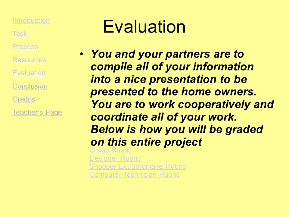 Evaluation You and your partners are to compile all of your information into a nice presentation to be presented to the home owners.