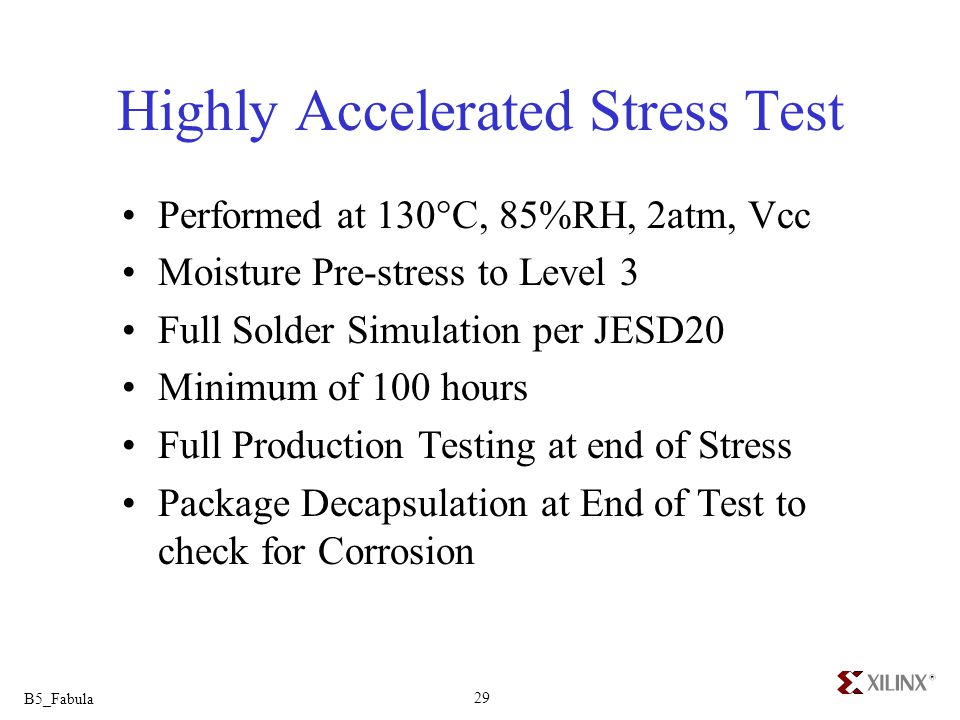 B5_Fabula 29 Highly Accelerated Stress Test Performed at 130°C, 85%RH, 2atm, Vcc Moisture Pre-stress to Level 3 Full Solder Simulation per JESD20 Mini