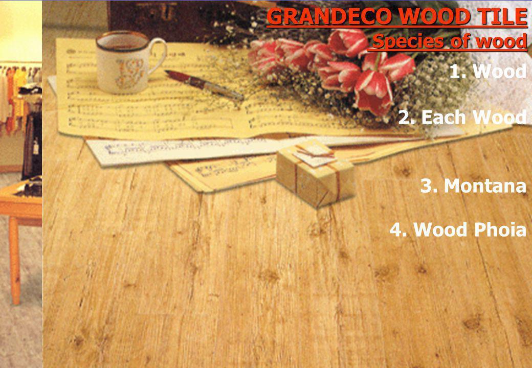 GRANDECO WOOD TILE Species of wood 4. Wood Phoia 1. Wood 2. Each Wood 3. Montana