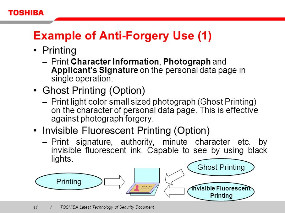 11/TOSHIBA Latest Technology of Security Document Example of Anti-Forgery Use (1) Printing –Print Character Information, Photograph and Applicants Signature on the personal data page in single operation.