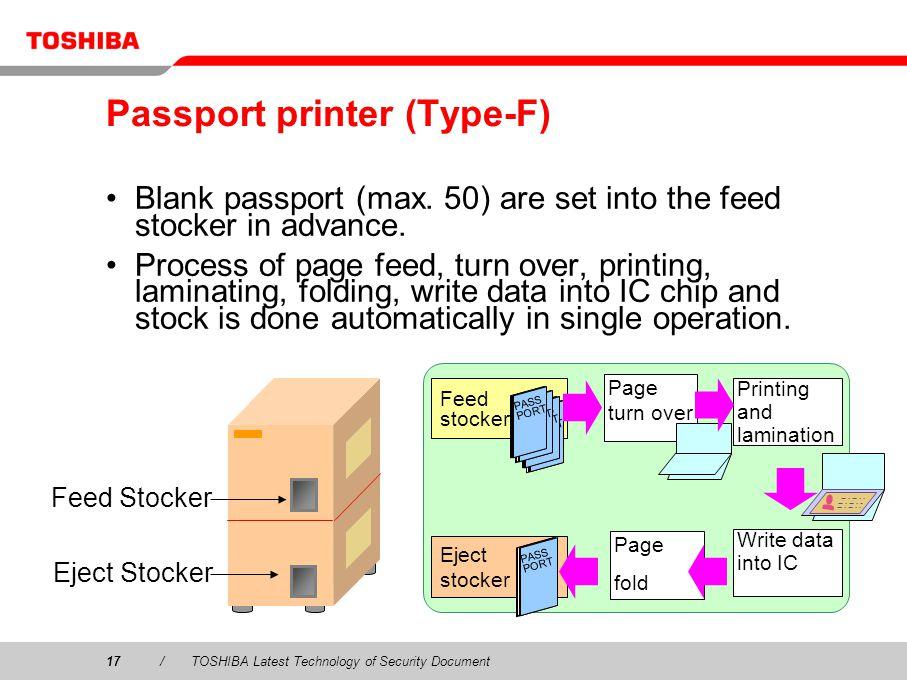 17/TOSHIBA Latest Technology of Security Document Passport printer (Type-F) Blank passport (max.