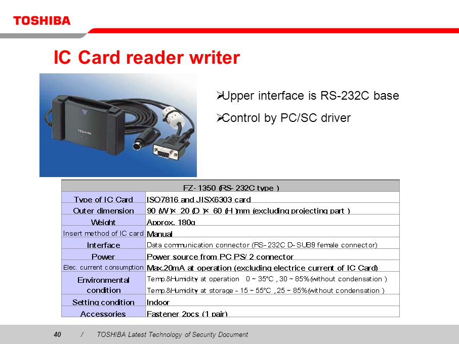40/TOSHIBA Latest Technology of Security Document IC Card reader writer Upper interface is RS-232C base Control by PC/SC driver