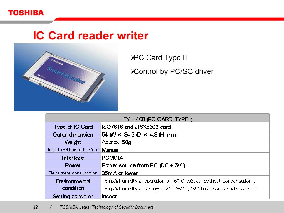 42/TOSHIBA Latest Technology of Security Document IC Card reader writer PC Card Type II Control by PC/SC driver