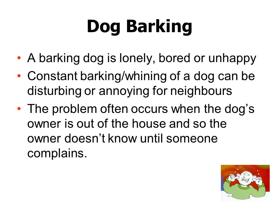 Dog Barking A barking dog is lonely, bored or unhappy Constant barking/whining of a dog can be disturbing or annoying for neighbours The problem often