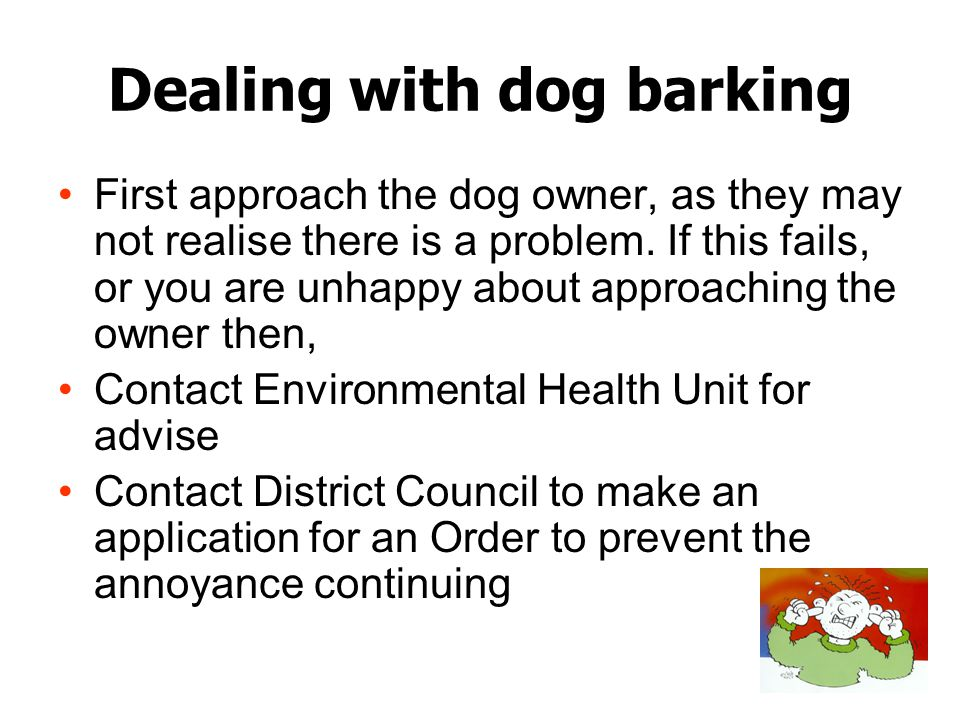 Dealing with dog barking First approach the dog owner, as they may not realise there is a problem. If this fails, or you are unhappy about approaching