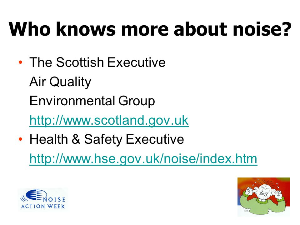 Who knows more about noise? The Scottish Executive Air Quality Environmental Group http://www.scotland.gov.uk Health & Safety Executive http://www.hse
