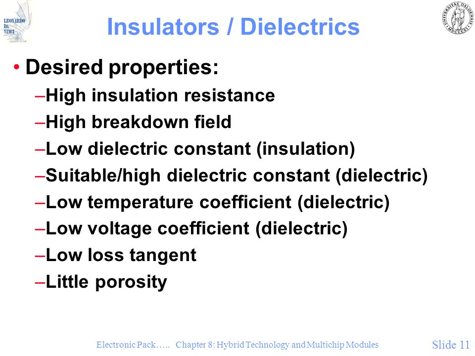 Electronic Pack….. Chapter 8: Hybrid Technology and Multichip Modules Slide 11 Insulators / Dielectrics Desired properties: –High insulation resistanc