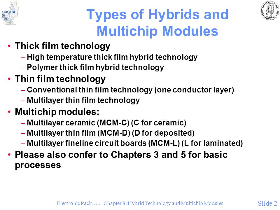 Electronic Pack….. Chapter 8: Hybrid Technology and Multichip Modules Slide 2 Types of Hybrids and Multichip Modules Thick film technology –High tempe