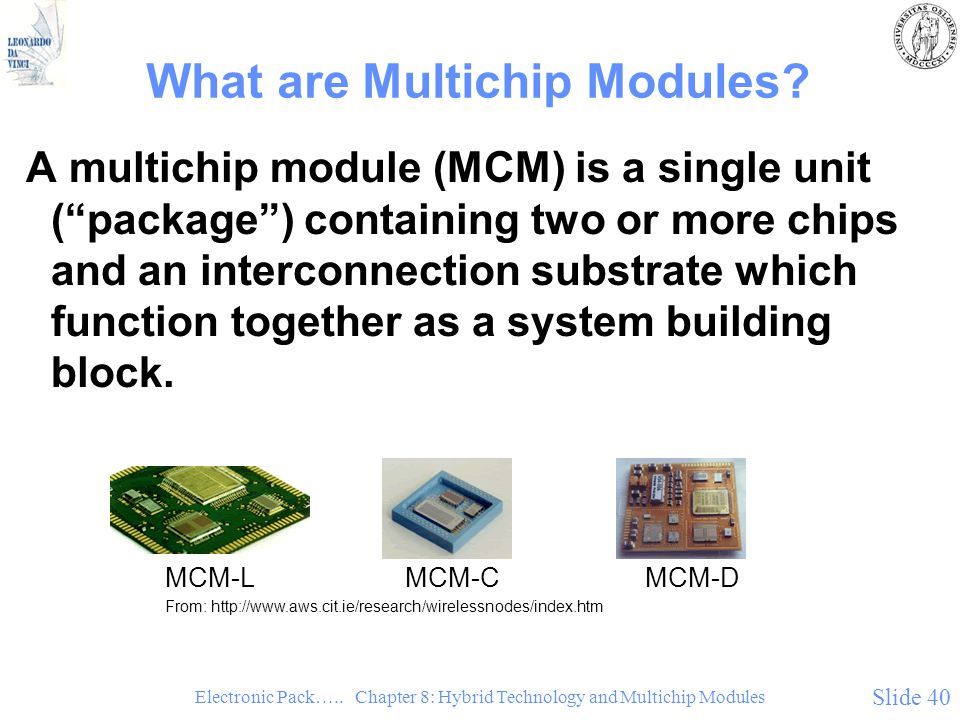 Electronic Pack….. Chapter 8: Hybrid Technology and Multichip Modules Slide 40 What are Multichip Modules? A multichip module (MCM) is a single unit (