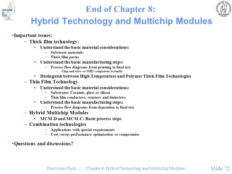 Electronic Pack….. Chapter 8: Hybrid Technology and Multichip Modules Slide 72 End of Chapter 8: Hybrid Technology and Multichip Modules Important iss