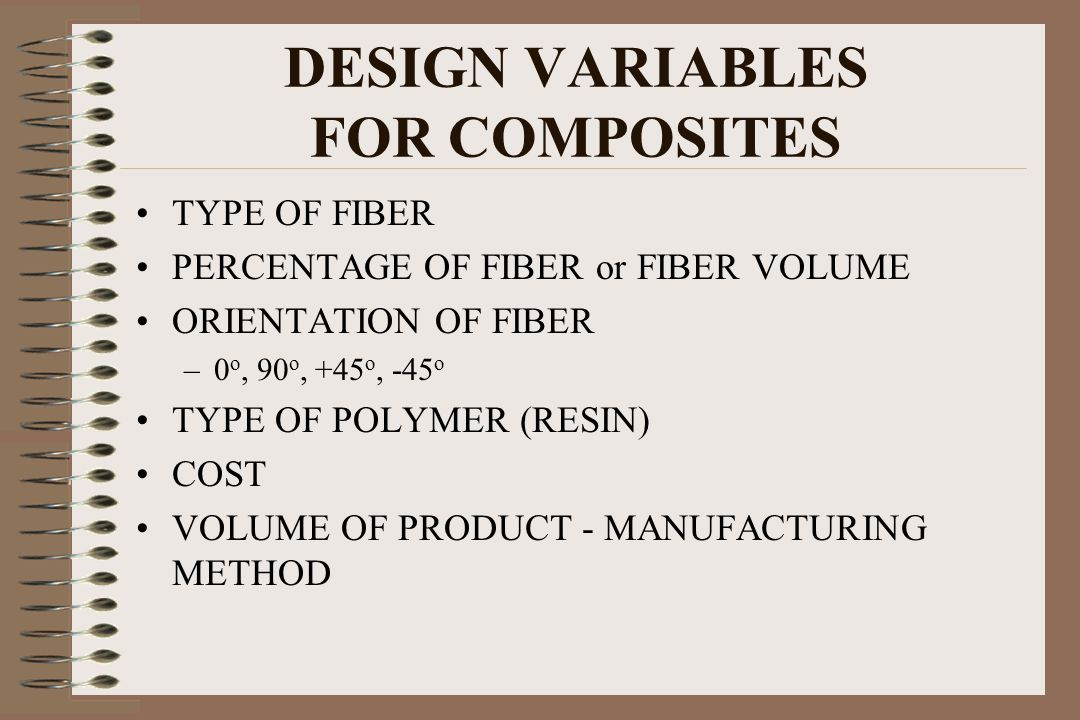 DESIGN VARIABLES FOR COMPOSITES TYPE OF FIBER PERCENTAGE OF FIBER or FIBER VOLUME ORIENTATION OF FIBER –0 o, 90 o, +45 o, -45 o TYPE OF POLYMER (RESIN