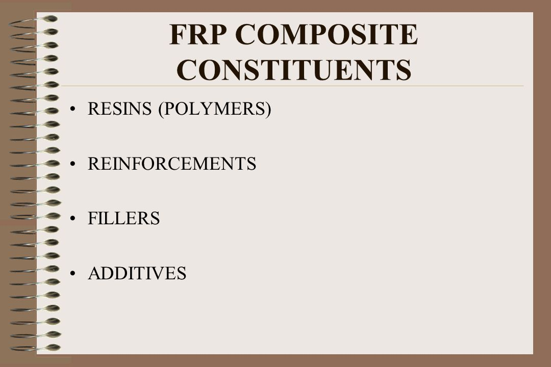 FRP COMPOSITE CONSTITUENTS RESINS (POLYMERS) REINFORCEMENTS FILLERS ADDITIVES