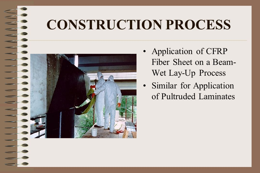 CONSTRUCTION PROCESS Application of CFRP Fiber Sheet on a Beam- Wet Lay-Up Process Similar for Application of Pultruded Laminates