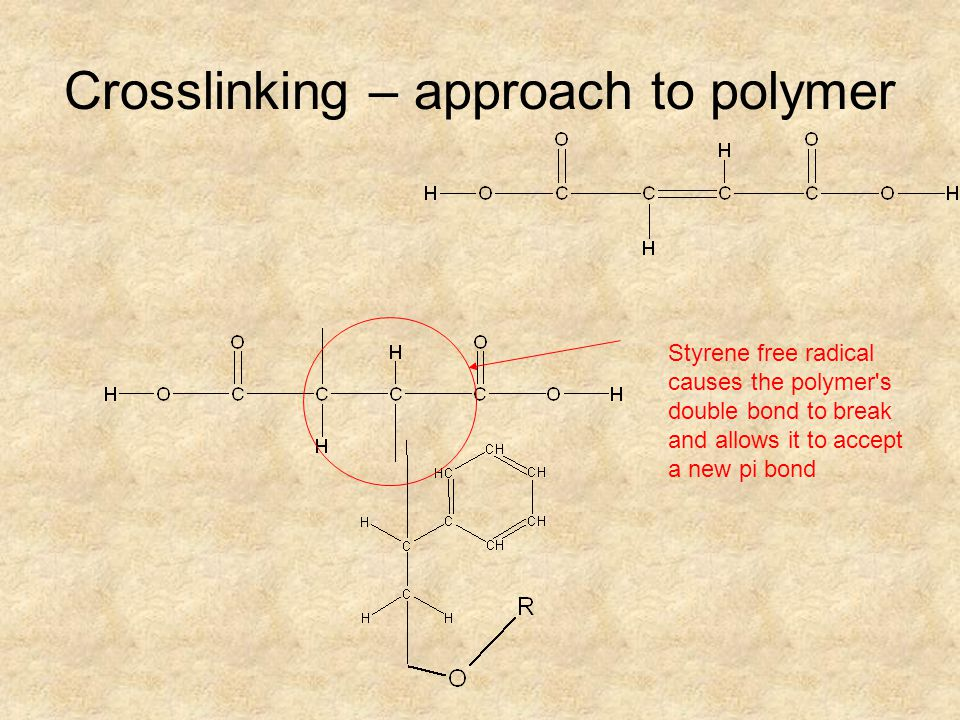 Crosslinking – approach to polymer Styrene free radical causes the polymer's double bond to break and allows it to accept a new pi bond