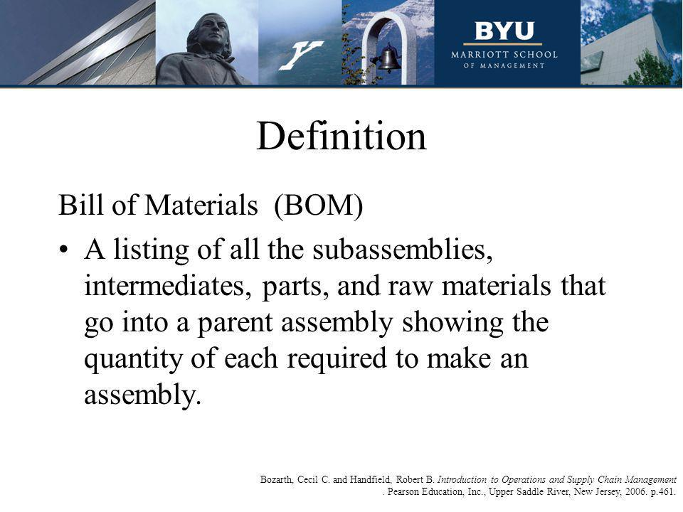 Definition Explained Basically, a bill of material (BOM) is a complete list of the components making up an object or assembly.