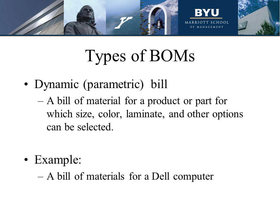 Benefits of a BOM Minimize clerical and engineering efforts by optimizing the tasks of maintaining and changing multi-level bills.