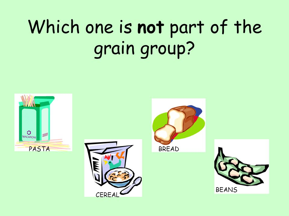 Which one is not part of the grain group? PASTA CEREAL BREADBEANS