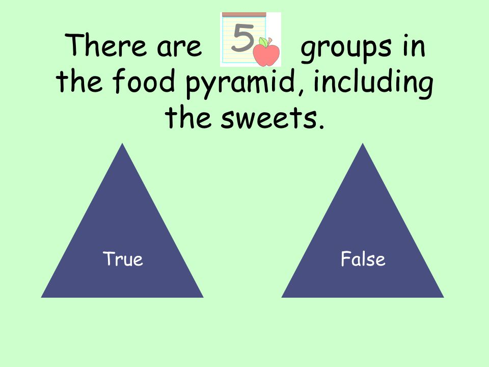 There are groups in the food pyramid, including the sweets. TrueFalse