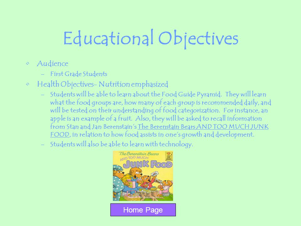 Educational Objectives Audience –First Grade Students Health Objectives- Nutrition emphasized –Students will be able to learn about the Food Guide Pyr