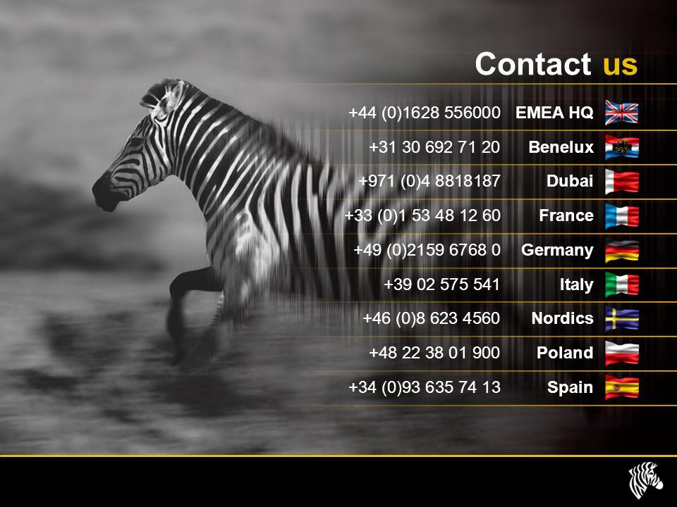 Contact us +44 (0)1628 556000 EMEA HQ +31 30 692 71 20Benelux +971 (0)4 8818187 Dubai +33 (0)1 53 48 12 60 France +49 (0)2159 6768 0 Germany +39 02 575 541 Italy +46 (0)8 623 4560Nordics +48 22 38 01 900Poland +34 (0)93 635 74 13 Spain