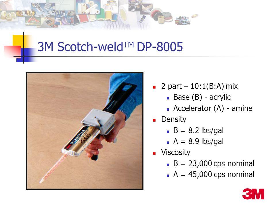 3M Scotch-weld TM DP-8005 2 part – 10:1(B:A) mix Base (B) - acrylic Accelerator (A) - amine Density B = 8.2 lbs/gal A = 8.9 lbs/gal Viscosity B = 23,000 cps nominal A = 45,000 cps nominal