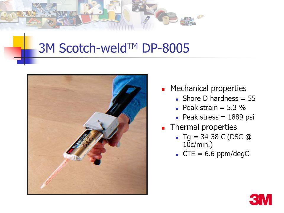 Mechanical properties Shore D hardness = 55 Peak strain = 5.3 % Peak stress = 1889 psi Thermal properties Tg = 34-38 C (DSC @ 10c/min.) CTE = 6.6 ppm/degC 3M Scotch-weld TM DP-8005