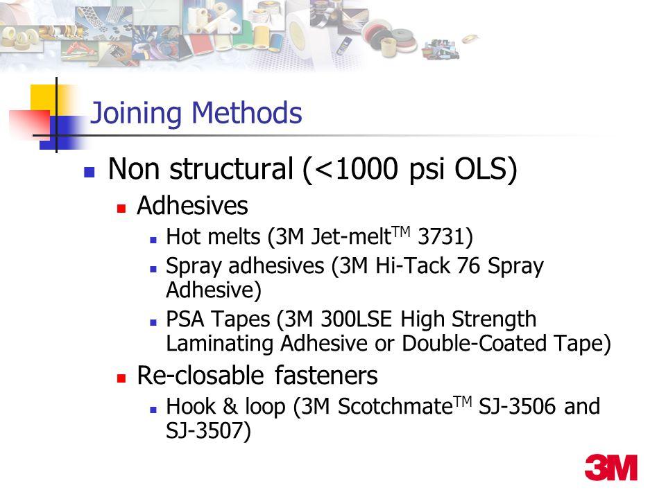 Joining Methods Non structural (<1000 psi OLS) Adhesives Hot melts (3M Jet-melt TM 3731) Spray adhesives (3M Hi-Tack 76 Spray Adhesive) PSA Tapes (3M