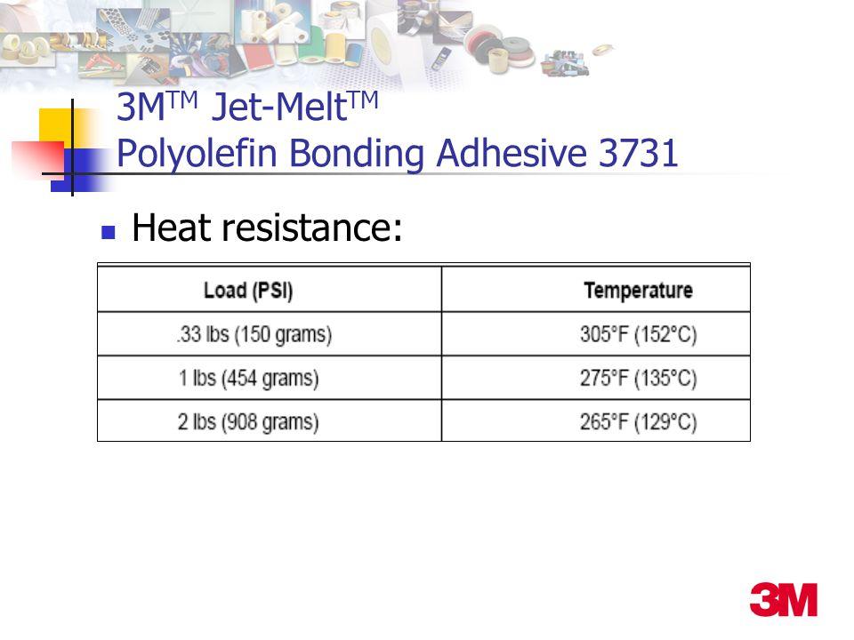 3M TM Jet-Melt TM Polyolefin Bonding Adhesive 3731 Heat resistance: