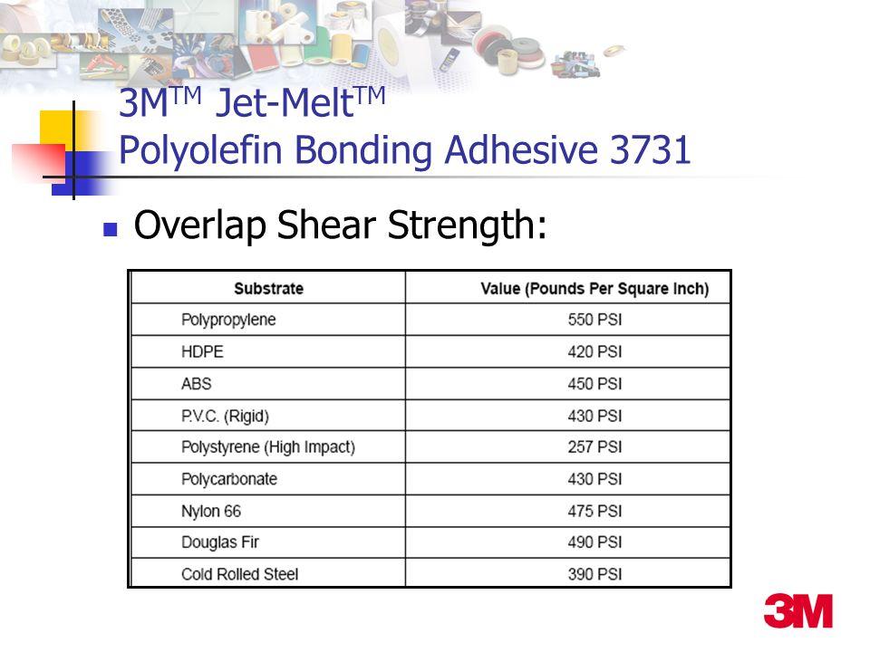 3M TM Jet-Melt TM Polyolefin Bonding Adhesive 3731 Overlap Shear Strength: