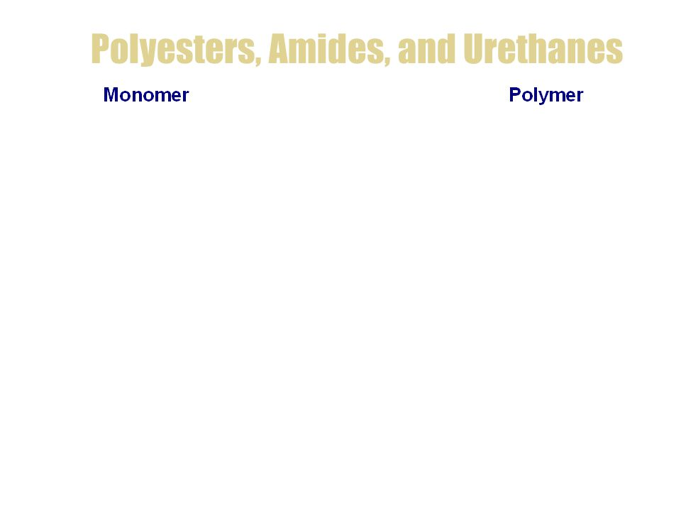 Polyesters, Amides, and Urethanes