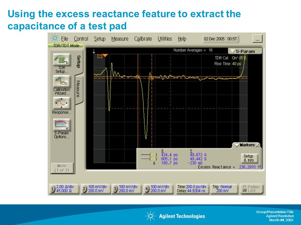 Group/Presentation Title Agilent Restricted Month ##, 200X Using the excess reactance feature to extract the capacitance of a test pad