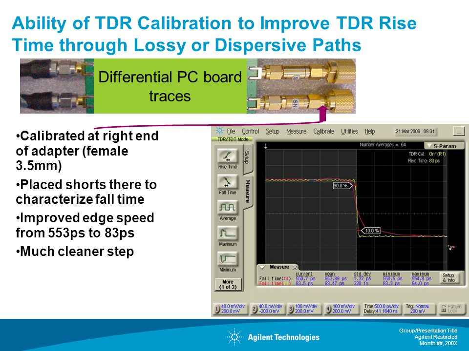 Group/Presentation Title Agilent Restricted Month ##, 200X Ability of TDR Calibration to Improve TDR Rise Time through Lossy or Dispersive Paths Calibrated at right end of adapter (female 3.5mm) Placed shorts there to characterize fall time Improved edge speed from 553ps to 83ps Much cleaner step Differential PC board traces