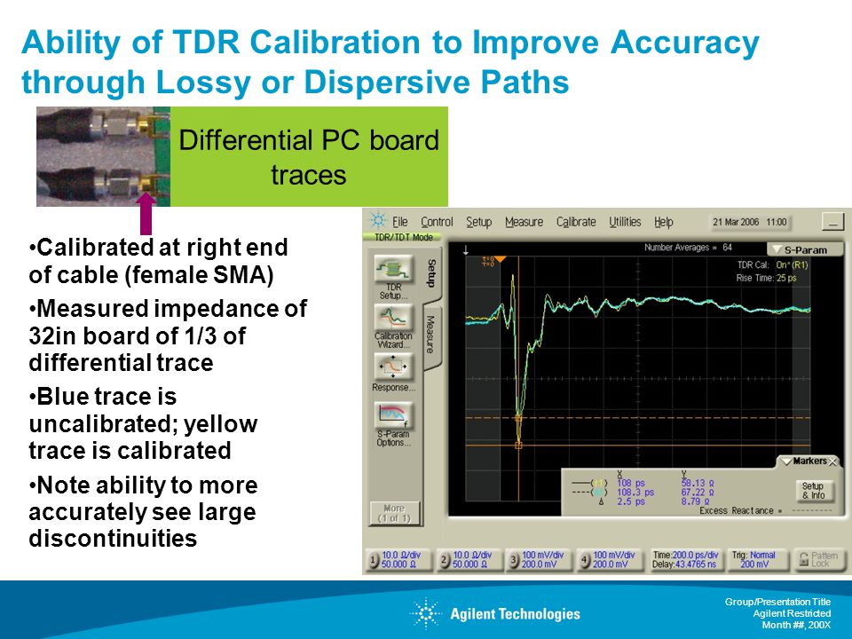 Group/Presentation Title Agilent Restricted Month ##, 200X Ability of TDR Calibration to Improve Accuracy through Lossy or Dispersive Paths Calibrated at right end of cable (female SMA) Measured impedance of 32in board of 1/3 of differential trace Blue trace is uncalibrated; yellow trace is calibrated Note ability to more accurately see large discontinuities Differential PC board traces