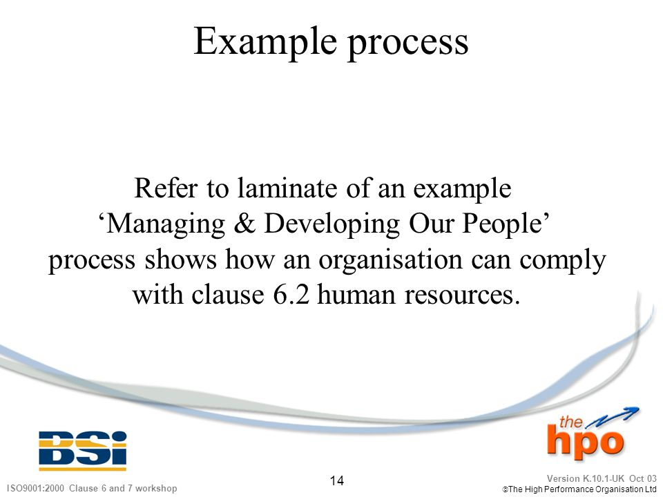 Version K.10.1-UK Oct 03 The High Performance Organisation Ltd 14 ISO9001:2000 Clause 6 and 7 workshop Example process Refer to laminate of an example