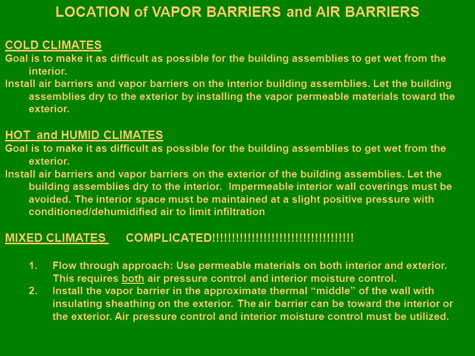 CONTROLLED ENVIRONMENTAL SPACE VAPOR BARRIER PAYBACK NO CORRECT ITEM VAPOR BARRIER VAPOR BARRIER SAVINGS Equipment Costs$20,000 $13,000 $7,000 Operating Costs$ 9,944 $ 5,368$4,576 Cost to properly vapor treat the space……………..$1,200