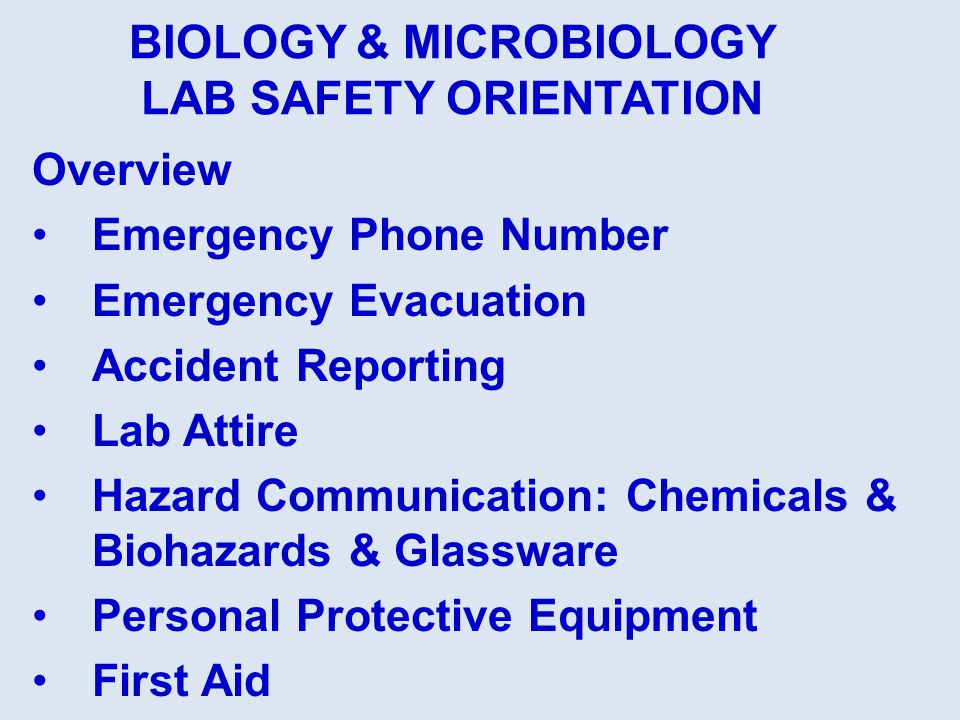 Overview Emergency Phone Number Emergency Evacuation Accident Reporting Lab Attire Hazard Communication: Chemicals & Biohazards & Glassware Personal P