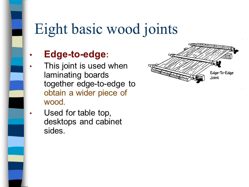 Eight basic wood joints Edge-to-edge : This joint is used when laminating boards together edge-to-edge to obtain a wider piece of wood. Used for table