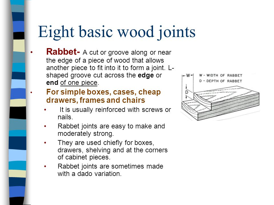 Eight basic wood joints Rabbet- A cut or groove along or near the edge of a piece of wood that allows another piece to fit into it to form a joint. L-