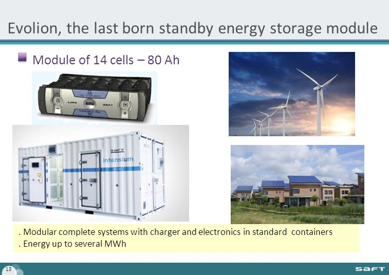 Evolion, the last born standby energy storage module Module of 14 cells – 80 Ah 13.
