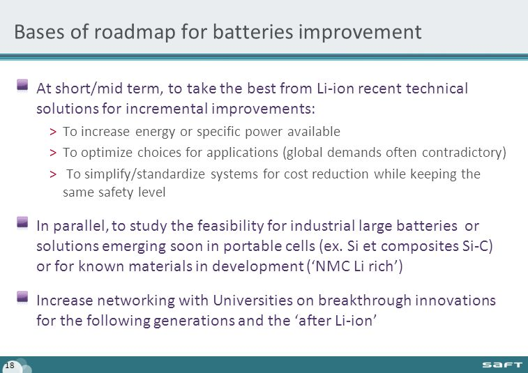 Bases of roadmap for batteries improvement At short/mid term, to take the best from Li-ion recent technical solutions for incremental improvements: >T