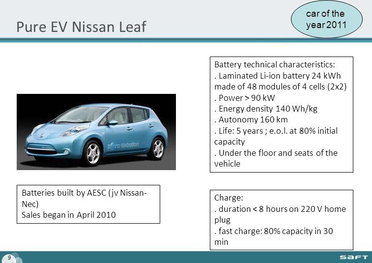 Pure EV Nissan Leaf 9 Battery technical characteristics:.