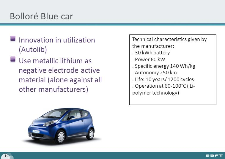 Bolloré Blue car Innovation in utilization (Autolib) Use metallic lithium as negative electrode active material (alone against all other manufacturers) 10 Technical characteristics given by the manufacturer:.