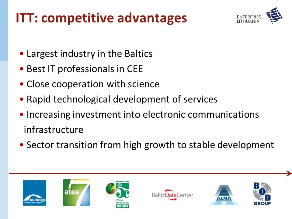 ITT: competitive advantages Largest industry in the Baltics Best IT professionals in CEE Close cooperation with science Rapid technological development of services Increasing investment into electronic communications infrastructure Sector transition from high growth to stable development