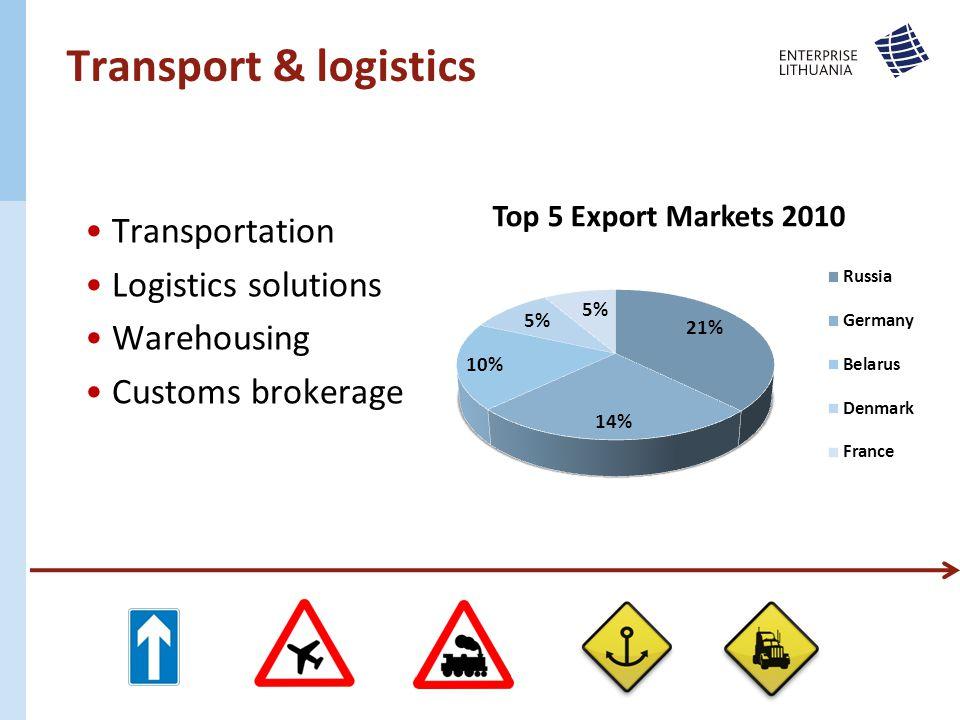 Transport & logistics Transportation Logistics solutions Warehousing Customs brokerage