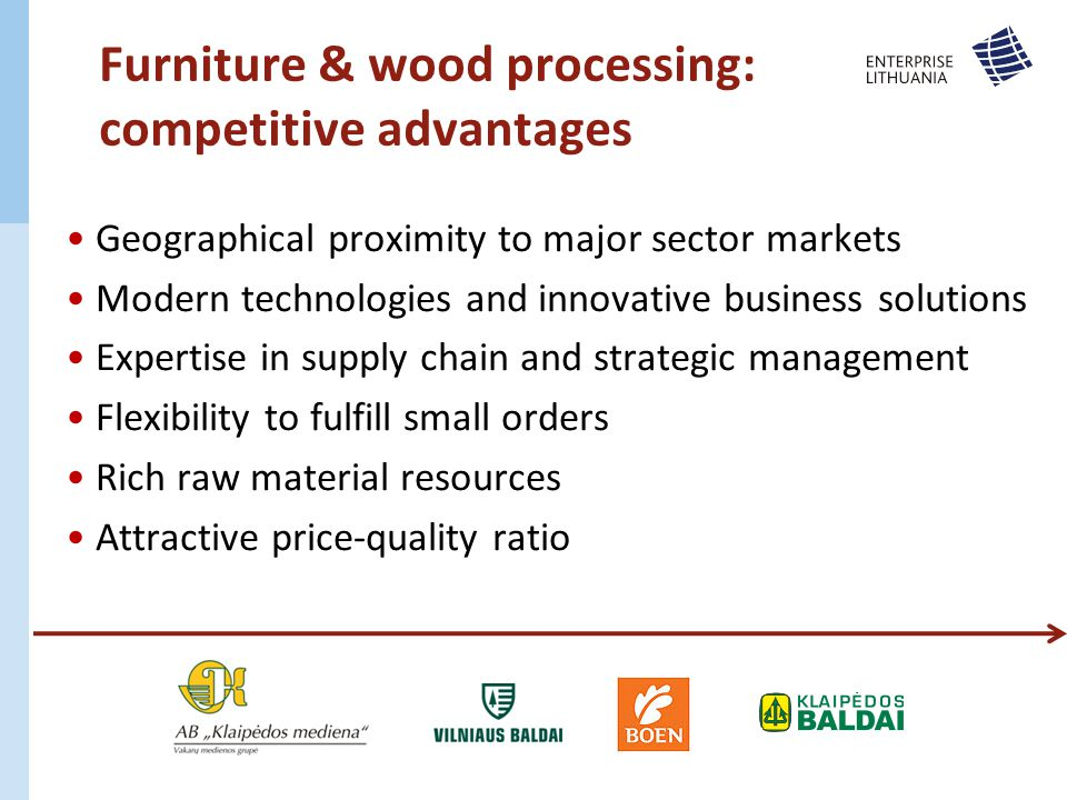 Geographical proximity to major sector markets Modern technologies and innovative business solutions Expertise in supply chain and strategic management Flexibility to fulfill small orders Rich raw material resources Attractive price-quality ratio Furniture & wood processing: competitive advantages